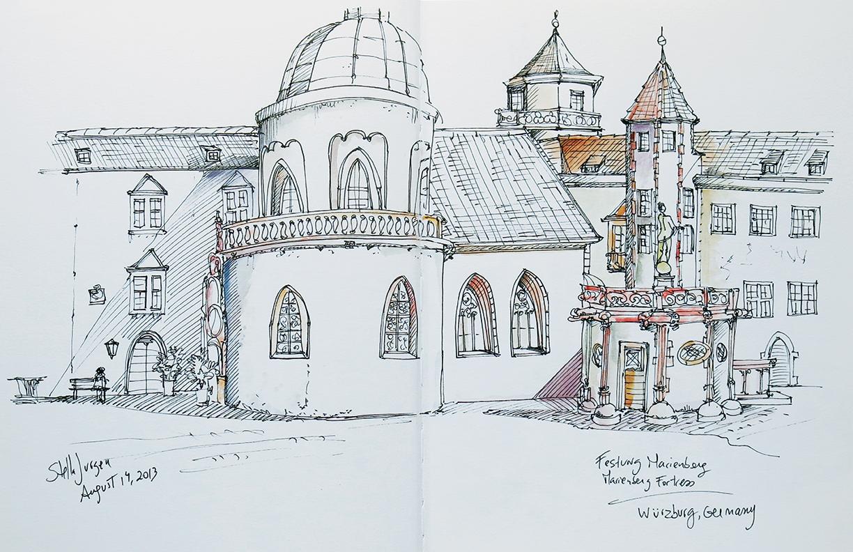 Stella Jurgen urban sketcher, sketch Festung Marienberg Fortress, Wurzburg