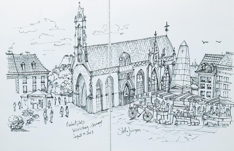 Stella Jurgen urban sketcher, sketch Wurzburg
