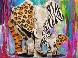 Elephants painting, abstract elephants