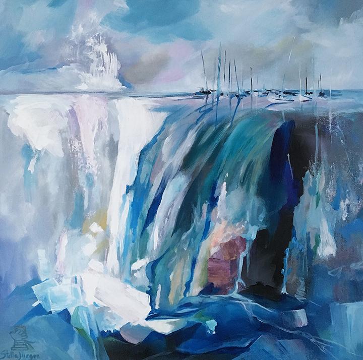 Waterfall boats painting
